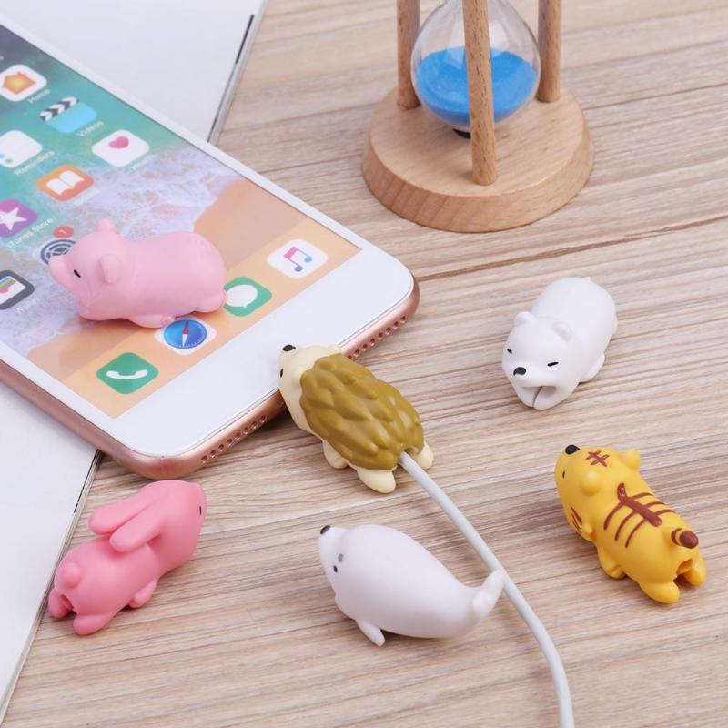 ALLOYSEED-Protector de Cable para iPhone, mordedura, cargador USB, enrollador de Cable para...