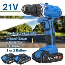 Perceuse sans fil 21 V 2 Batteries visseuse électrique 3000 r/min perceuse à percussion perceuse électrique 3 en 1