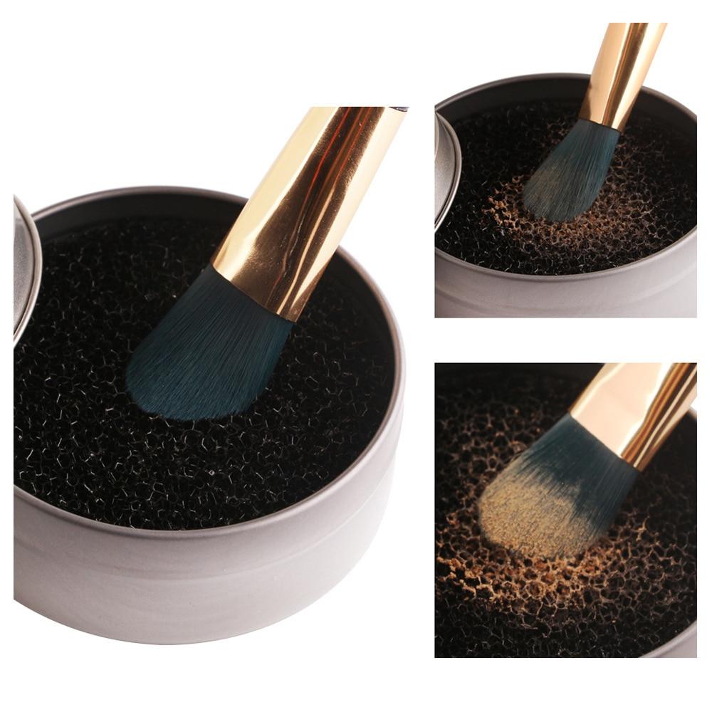 Limpiador de brochas de maquillaje de Color rápido, esponja de aluminio, caja de maquillaje, cepillos de limpieza, polvo de lavado, sombra de ojos, esponja limpiadora, herramienta