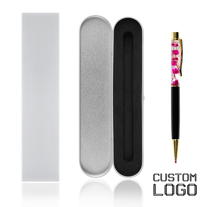 1pc Custom Logo Pens High Grade With A Box Creative Fower Gold Metal Gel Pen Private Birthday Engraved Gift School Office Supply