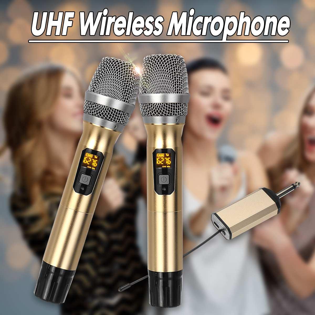 Sistema con micrófono inalámbrico UHF portátil, 2 micrófonos de mano, reproductor de altavoz con receptor Digital para Show de Bar
