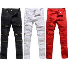 Pantalones de mezclilla con cremallera recta a la moda para hombre, pantalones vaqueros rotos negros, blancos y rojos