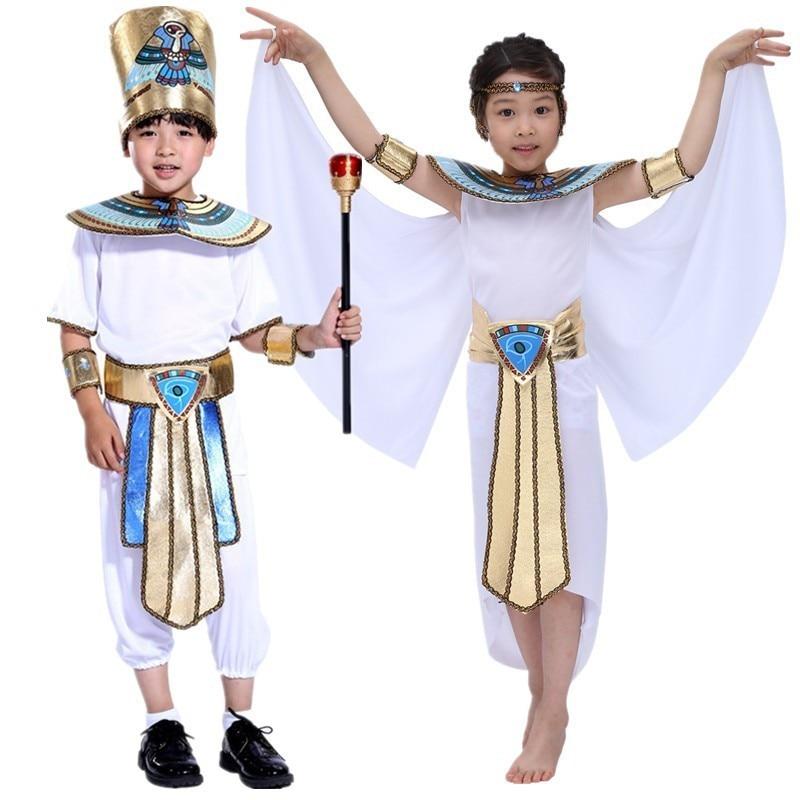 Boy Girl Ancient Egypt Egyptian Pharaoh Cleopatra Prince Princess Costume Children Kid Halloween Cosplay Performance Clothes Set