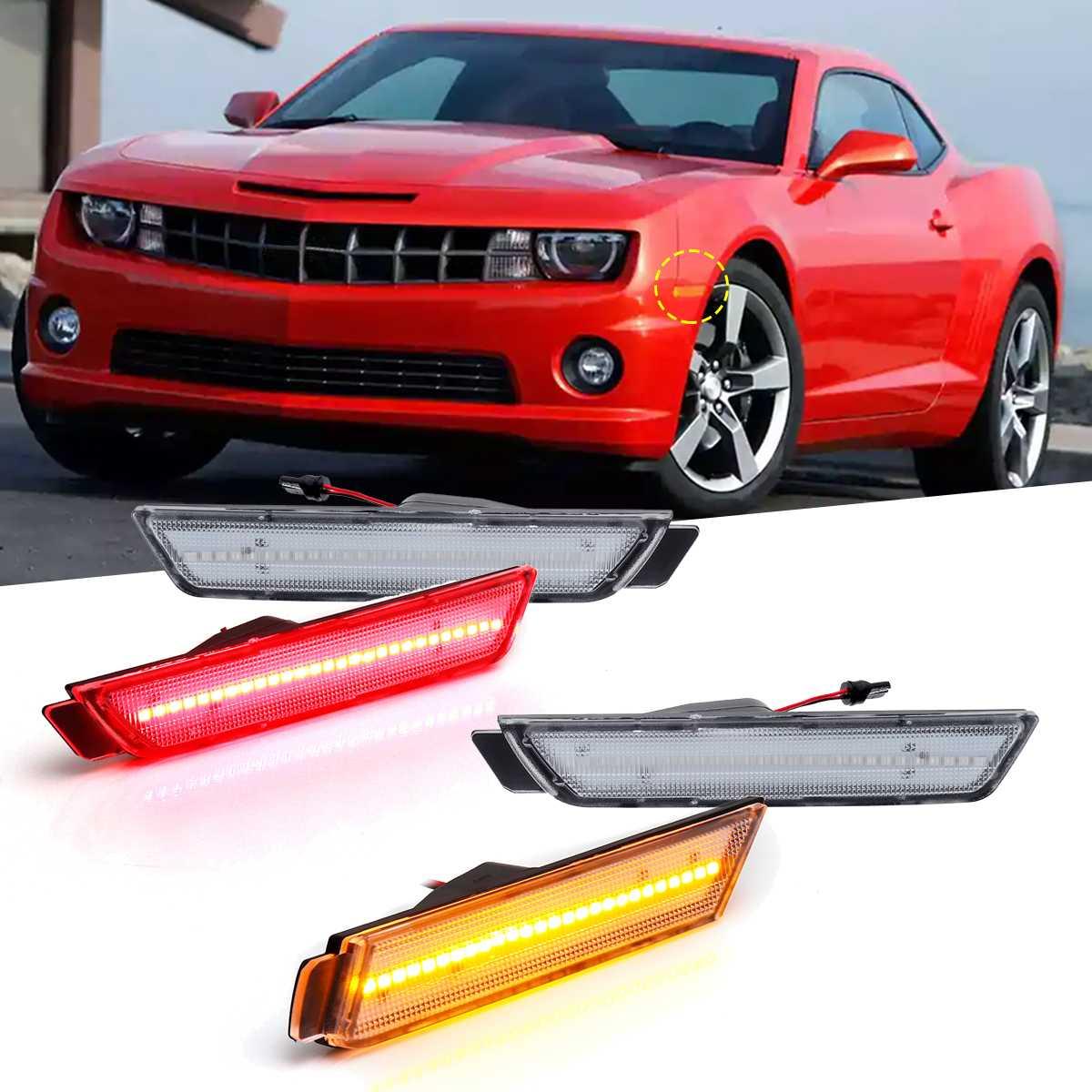 Para 2010 2011 2012 2013 2014 2015 Chevy Camaro luz delantera ámbar LED rojo bombilla de intermitente trasero marcadores laterales luces lente limpia