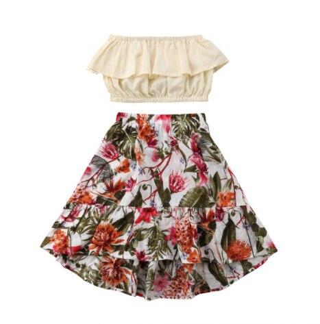 Pudcoco, gran oferta, 2 uds., verano, para niña, sin hombros, Top corto, falda Floral, conjunto bonito, ropa, nuevo tamaño 2-7T