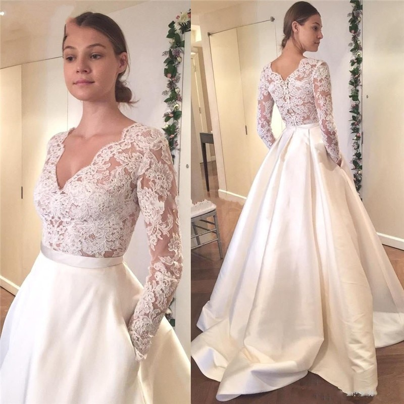 Elegant Cheap Satin Wedding Dresses Lace Long Sleeve V-neck Button Back Simple A-line Bride Dress