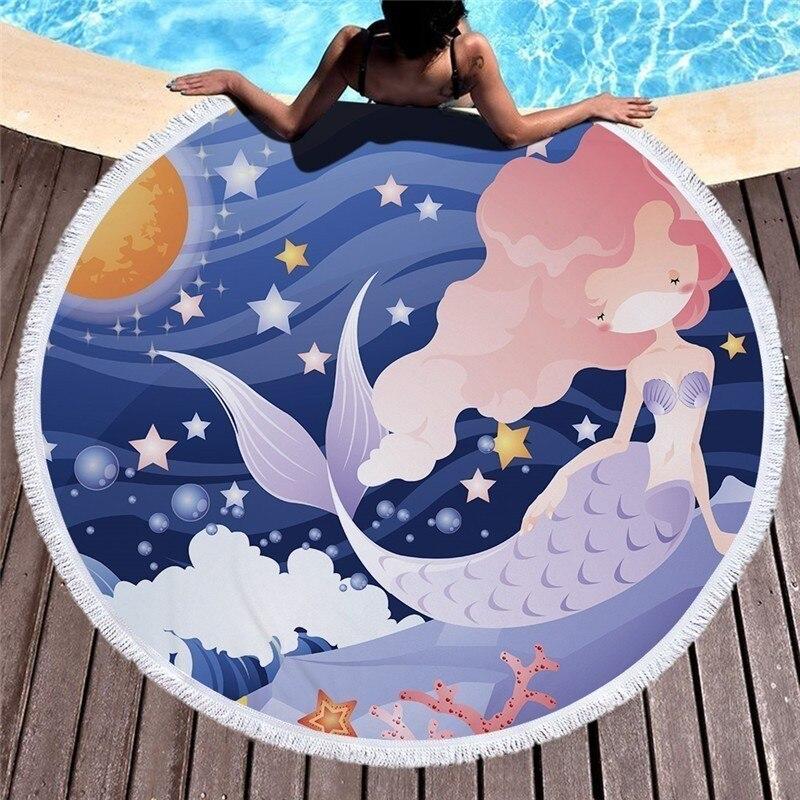 Toalla para tomar el sol de verano de sirena de cuento de hadas toalla para tomar el sol de microfibra redonda de 150cm manta de Picnic en el exterior esterilla de Yoga