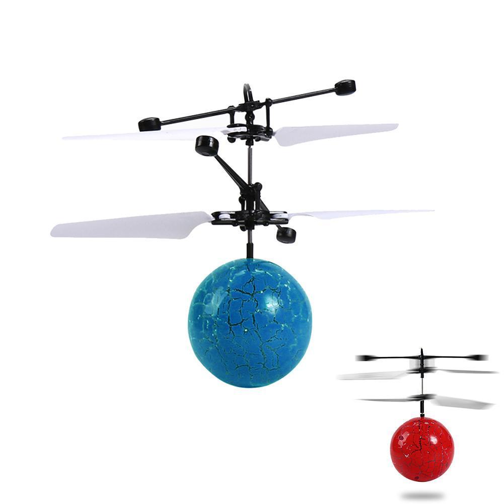 Juguete para niños, Dron de bola voladora, Bola de helicóptero con iluminación LED brillante integrada, juguete de Planeta de grieta, bola voladora para niños