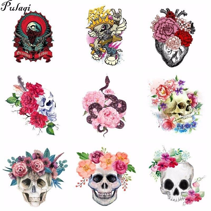 Pulaqi, parches de flores de serpiente, camiseta, pegatina de prensa, Calavera, corazón Punk, Rock, decoración de ropa, impresión fácil por apliques de hogar H