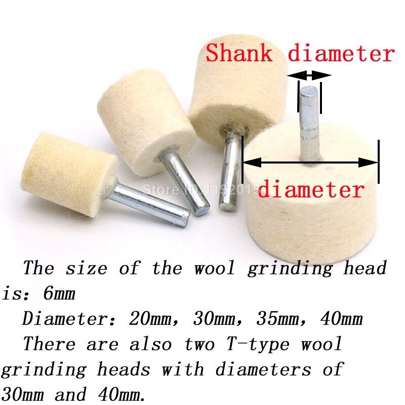1x 6mm tige 20-40mm pad laine feutre polissage polissage meule tête - Outils abrasifs - Photo 3