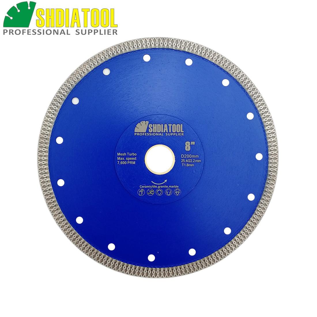 """SHDIATOOL 1 ud. Diámetro 8 """"/200mm sinterizado en caliente X malla Turbo diamante Sierra cuchillas rueda circular mármol azulejo disco cortador cerámico"""