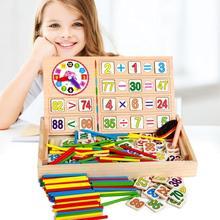 Enfants Maths enseignement boîte ensemble enfants en bois numéro comptage Maths jouet bébé mathématiques autocollant calculer jeu jouet éducation bloc