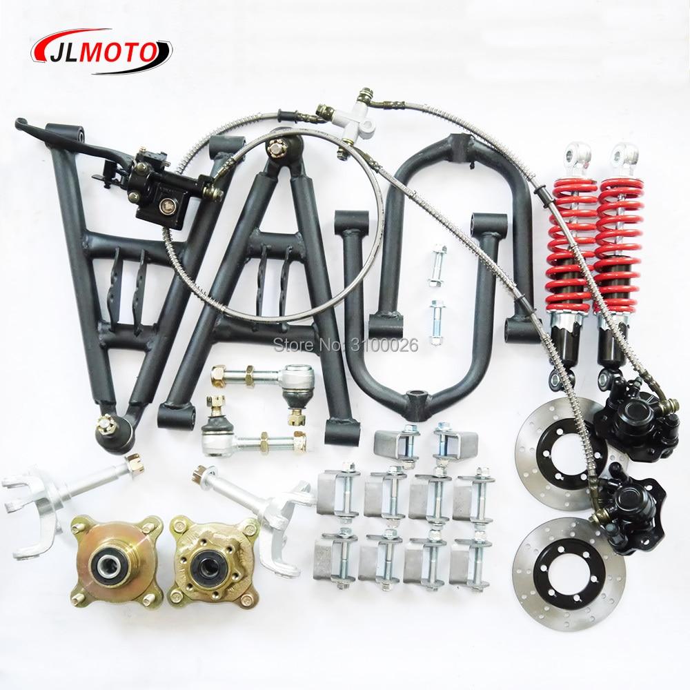 1Set Front Suspension Swingarm Upper/Lower A Arm Steering Strut Knuckle Spindles with Brake Wheel Hubs Fit For DIY ATV Buggy
