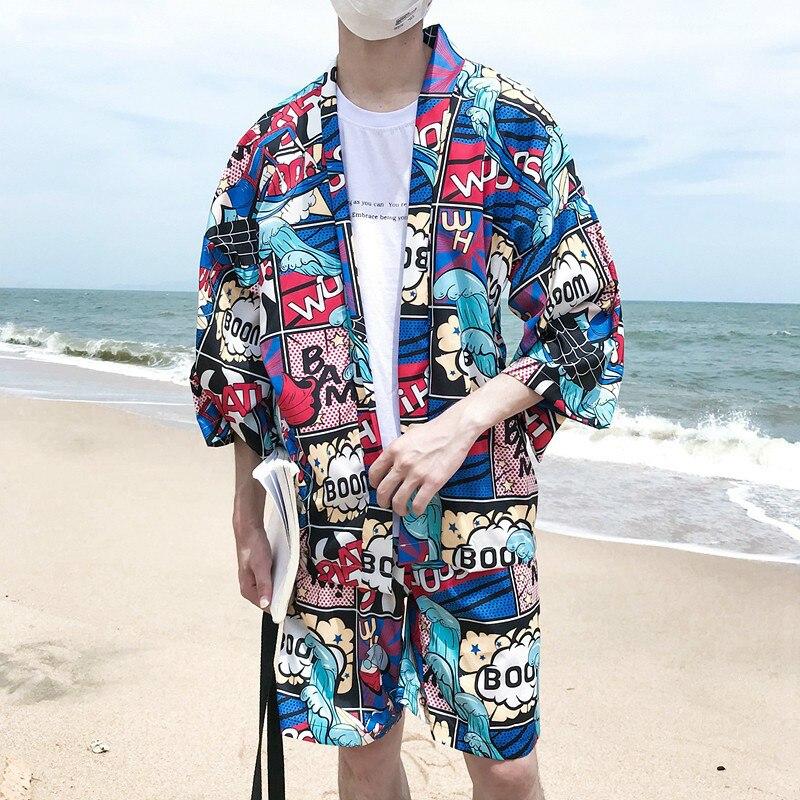 Été plage hommes décontracté vêtements ensemble Harajuku bande dessinée imprimé Kimono Style chemise + short élastique vacances deux pièces survêtement