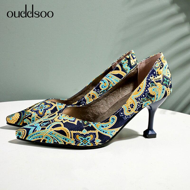 2019 primavera y otoño bordado tacones altos 13 estilo chino 7,5 cm código de tamaño personalizado 9,5 zapatos individuales 11 con cheongsam 12