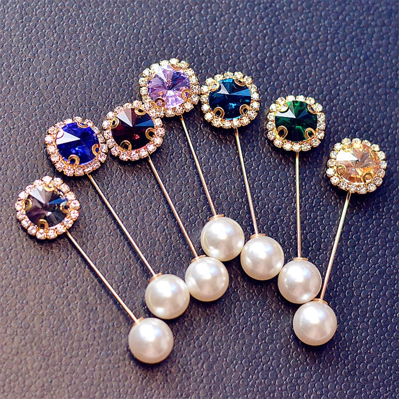 Hot 1PC Rhinestone Flower Brooch Lapel Wedding Boutonniere Islamic Hijab Head Scarf Pin