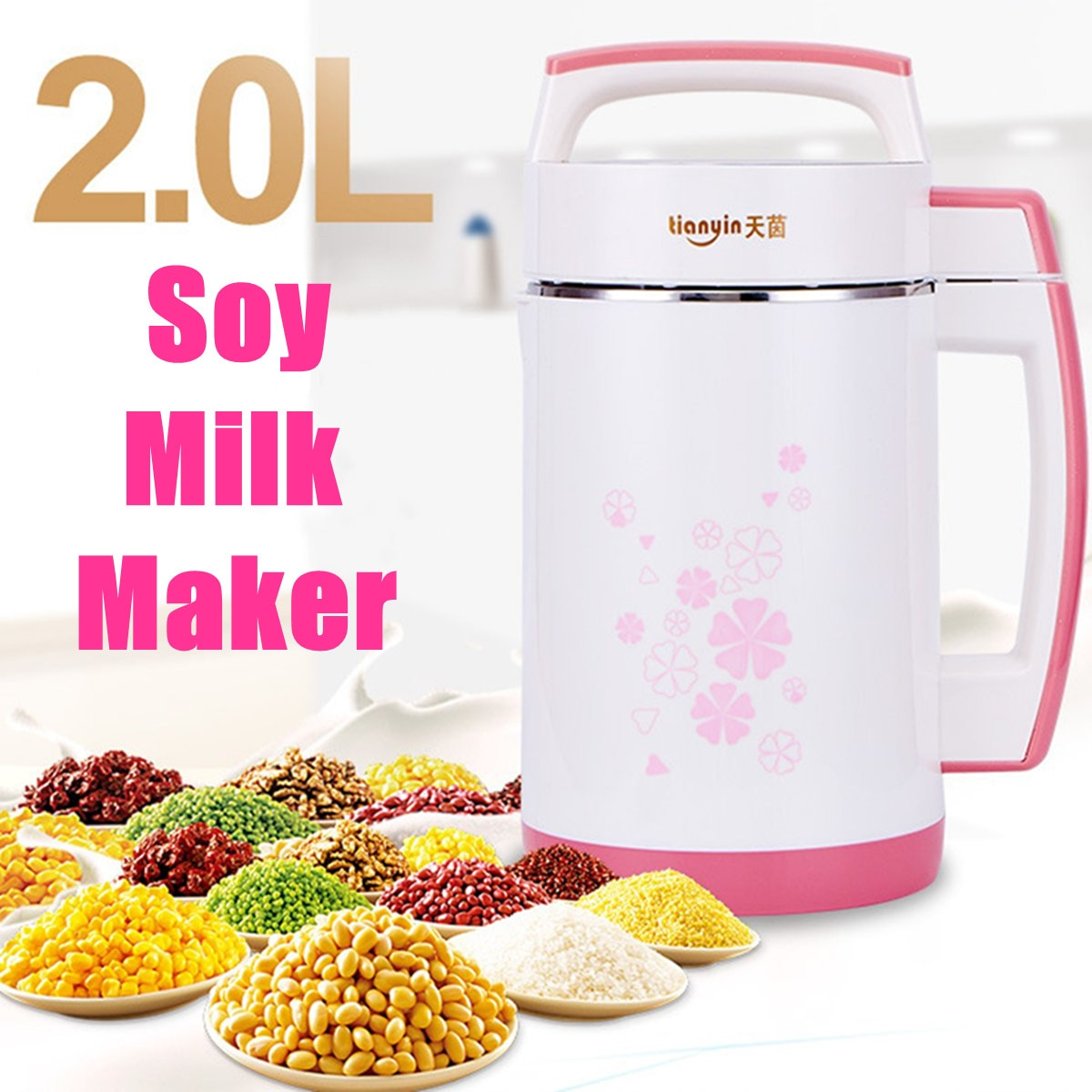2L תכליתי מכונה מערבבים אורז יצרנית דבק נירוסטה מסנן-משלוח אוטומטי חימום פולי סויה חלב מסחטה 800W