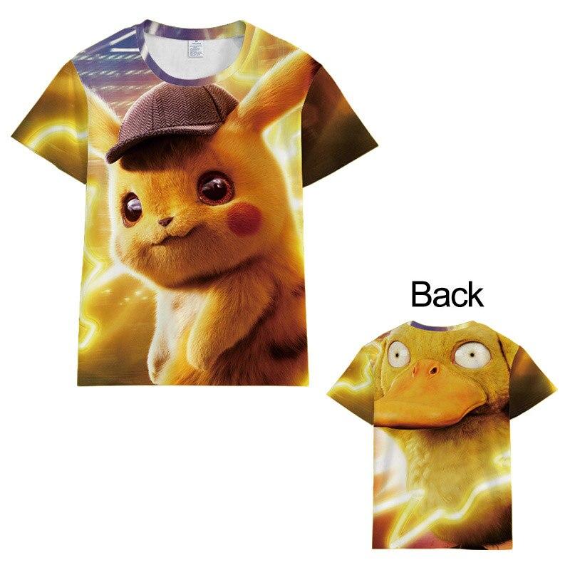 Hot New Pikachu Pokemon Filme Detective PikachuT-camisa SleeveSumme Cosplay Trajes Topos Curtas Das Mulheres Dos Homens Unisex Harajuku t camisa