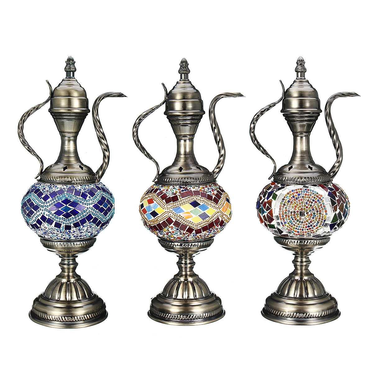 Retro Romantic Table Lamp Decorative Light Turkish Lamp Glass Colorful Handmade for Home Bedroom Bar Coffee Shop Art Decor Gift