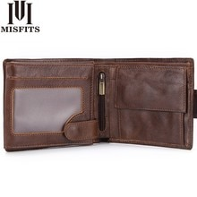 MISFITS Genuine Leather Wallet Men with Coin Pocket Vintage Short Purse For Male Carteira Masculina