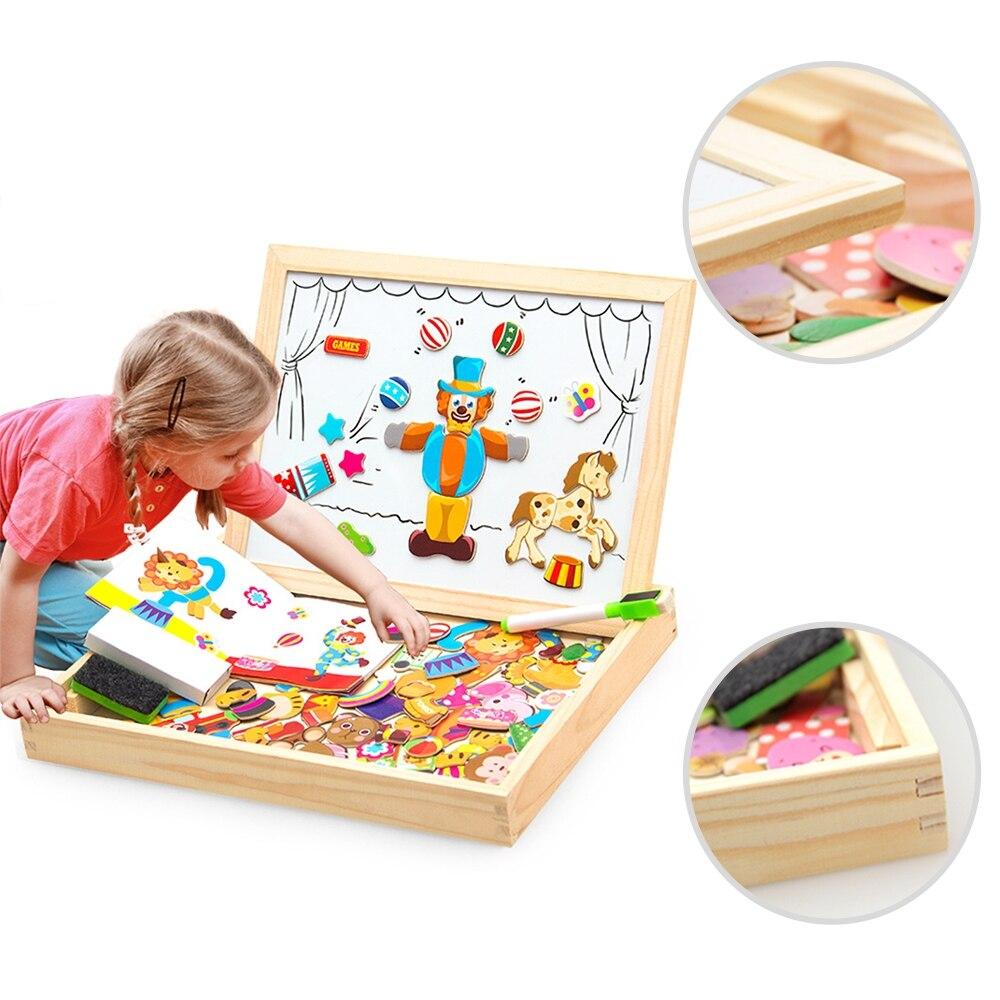 Figura de puzle magnética de madera/animales/vehículo/tablero de dibujo de circo 5 caja con estilos juguete para regalo educativo