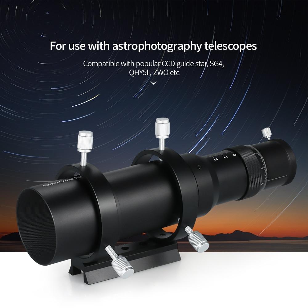 Instrumentos y aparatos de alcance de guía de 50mm Finderscope para telescopio astronómico 200mm longitud Focal F4 relación Focal Guidescope