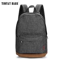 Мужской холщовый рюкзак TINYAT, повседневный рюкзак серого цвета, для хранения ноутбука 15 дюймов, студенческие портфели, сумки в стиле колледж...