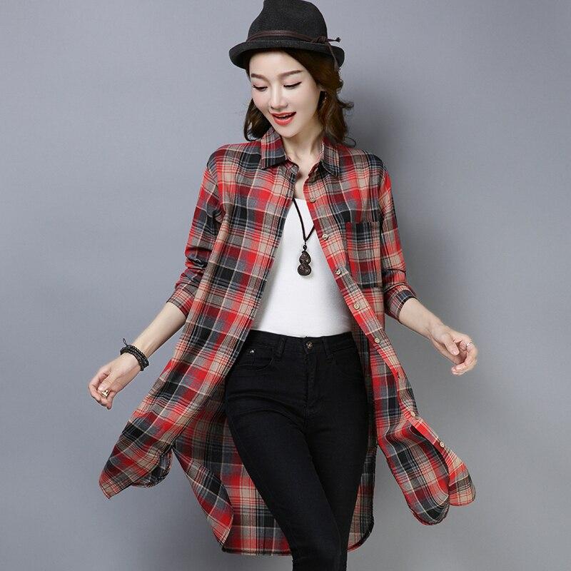 #2924 camisa Extra larga para mujer, Túnica informal, camisa de señora holgada con abertura lateral, camisa Vintage para mujer, elegante rojo verde primavera
