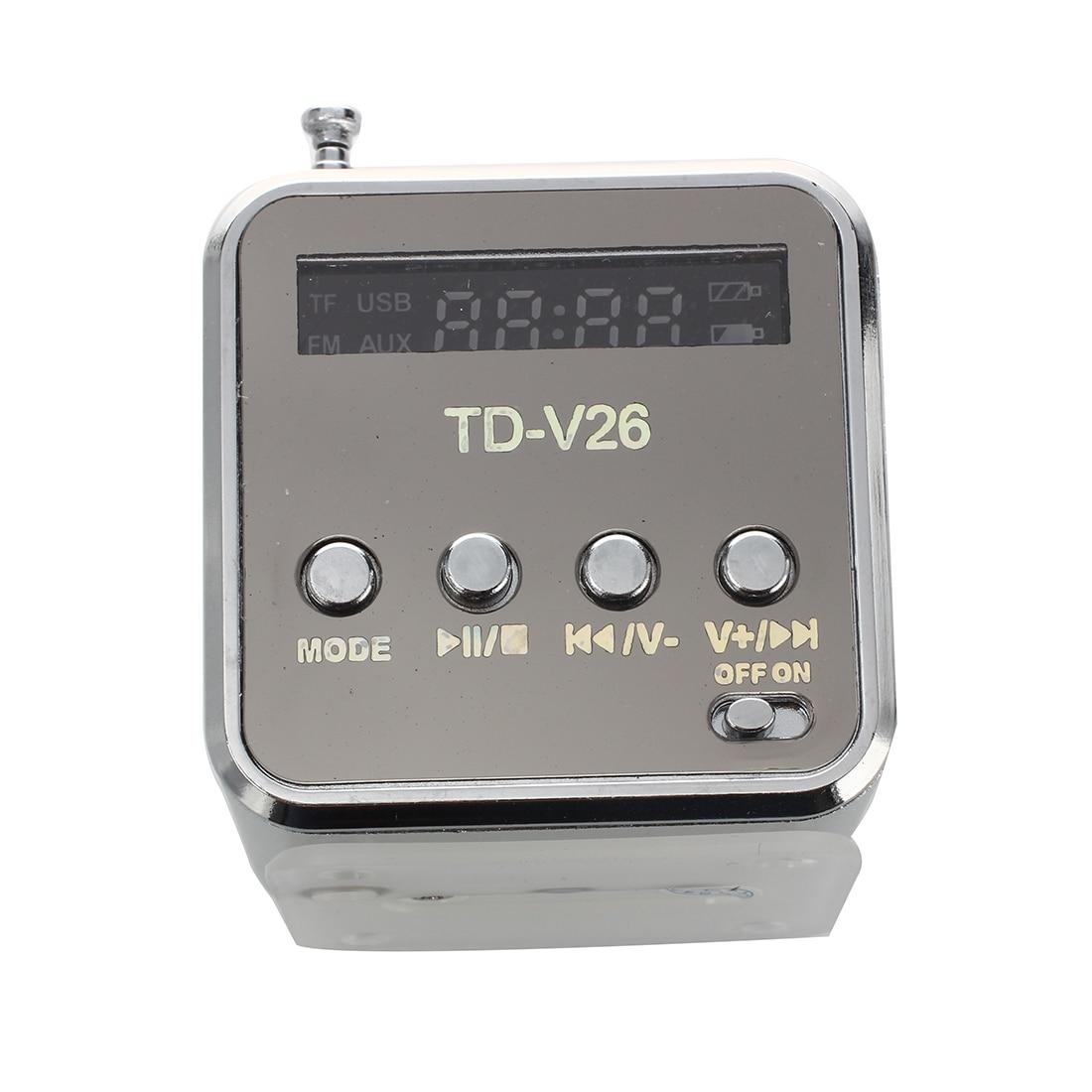 Silber 3,5mm Mini Tragbare Musik-Player Lautsprecher FM Radio USB Micro SD TF Karte