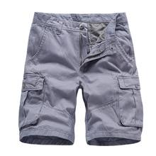 Cargo Shorts Men Cotton Bermuda Male Summer Military Style Straight Work Pockets Khaki Short Trousers Casual Vintage Shors Man