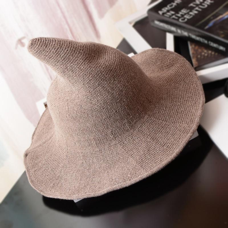 Sombrero de bruja, gorro de lana de oveja que se adapta a la figura, sombrero de pescador tejido, Cubo de lavabo con punta de bruja a la moda para Halloween