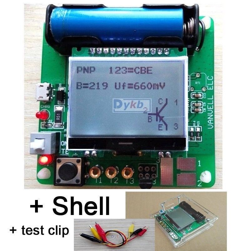 Lcr esr medidor mega328 digital combo transistor tester diodo triode indutor capacitância resistor mos/pnp/npn + clipe de teste escudo