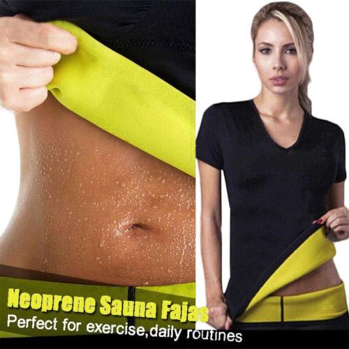 Women Workout Shirts Hot Neoprene Bodyshaper Slimming Waist Fitness Yoga Shirt Gym Sportswear Exercise Tops Plus Size