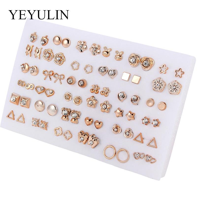 36 ζευγάρια / 18 ζευγάρια σκουλαρίκια μικτά στυλ στρας σκουλαρίκια ηλίανθου γεωμετρικά σκουλαρίκια για γυναίκες και κορίτσια