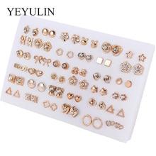 36 paires/18 paires boucles doreilles Styles mixtes strass soleil fleur géométrique Animal en plastique boucles doreilles ensemble pour femmes filles bijoux