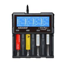 ADEASKA VC4 PLUS pantalla LCD USB cargador inteligente rápido para batería Li-ion/IMR/LiFePO4/Ni-MH 18650/26650