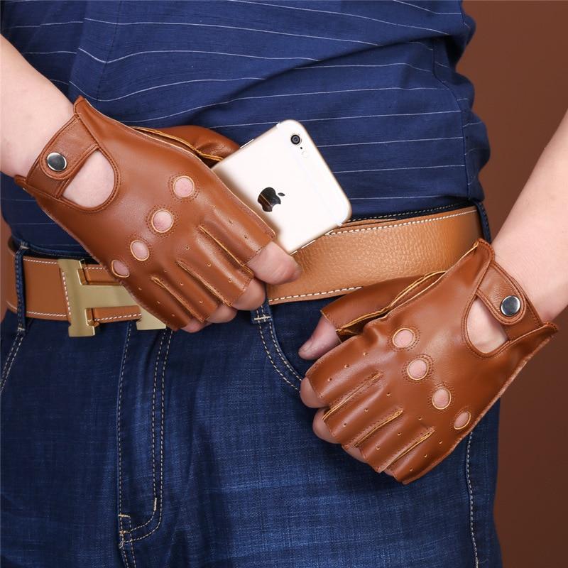 Nuevos guantes de cuero PU para hombre, primavera-verano, conducción fina, antideslizante, movimiento táctico, sin dedos, guantes de Cuero de cabra para Fitness W107