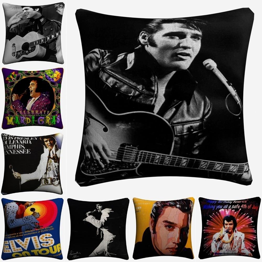 Elvis Presley Vintage Classic Art Decorative Cotton Linen Cushion Cover 45x45cm Throw Pillow Case For Sofa Home Decor Almofada