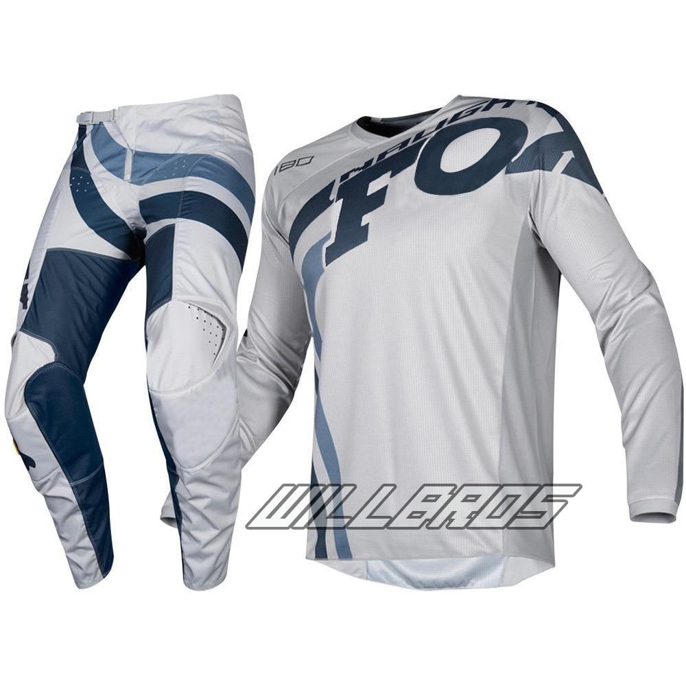 Free shipping 2019 Naughty Fox MX 180 Cota Jersey & Pant Combo Motocross Racewear Dirt Bike Off Road Adult Grey Navy Gear Kit