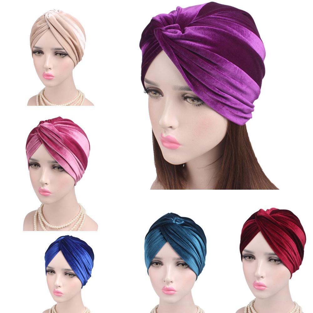 Nuevos sombreros hijabs musulmanes para mujer, turbante islámico cruzado de terciopelo, gorro de descanso rastas para la pérdida de cabello, sombrero, gorro, tubo cómodo, sombrero