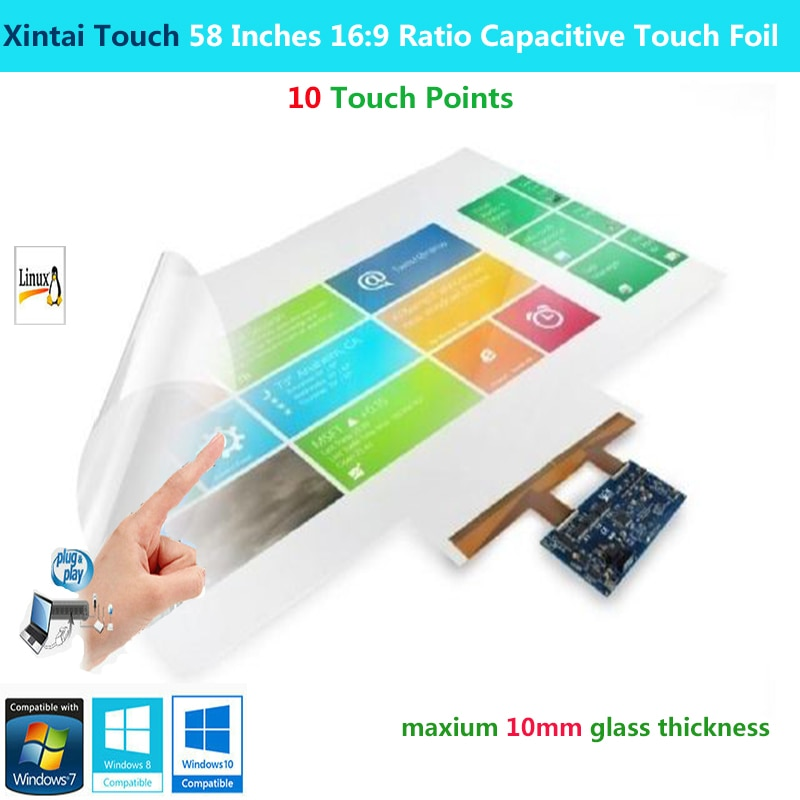 Xintai Touch-شاشة لمس تفاعلية مقاس 58 بوصة ، 16:9 ، مع 10 نقاط لمس سعوية ، متعددة اللمس ، للتوصيل والتشغيل