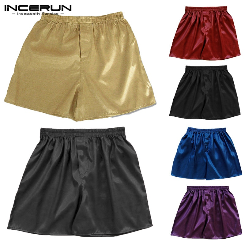 INCERUN 2021 Hot Sale Silk Satin Men Sleep Boxer Bottoms Pajama Lounge Shorts Sleepwear Homewear Sol