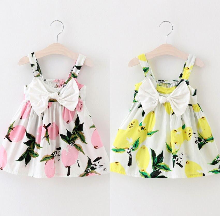 Verano niño Infante niños bebés niñas arco limón impreso Halter vestido princesa tutú para fiesta de boda vestidos