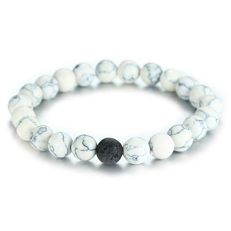 Pulsera de cuerda elástica de piedra de Lava volcánica blanca con envío directo, brazalete de Yoga calmante para aromaterapia, regalo Unisex para parejas