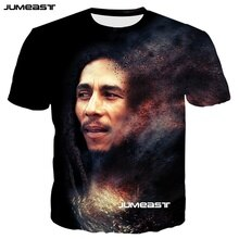Jumeast Bob Marley Fashion 3D Print Men/Women T-shirts Reggae Music Summer O-Neck Short Sleeves Cool Street Hip Hop Style Tshirt