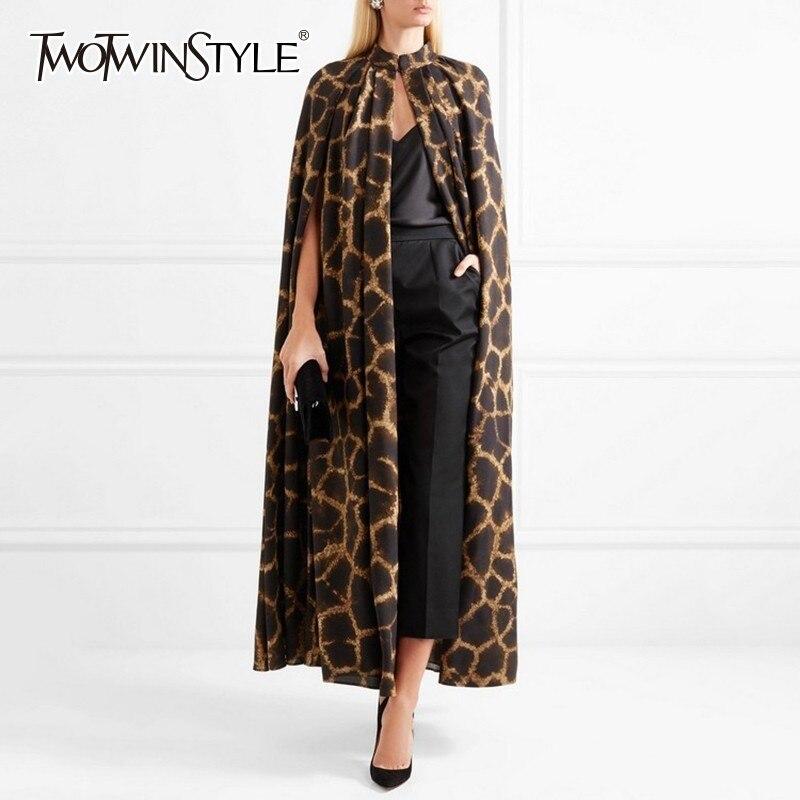Twotwinstyle feminino cardigan casaco o pescoço capa manga impressão leopardo maxi mantos para as mulheres 2019 outono do vintage moda maré