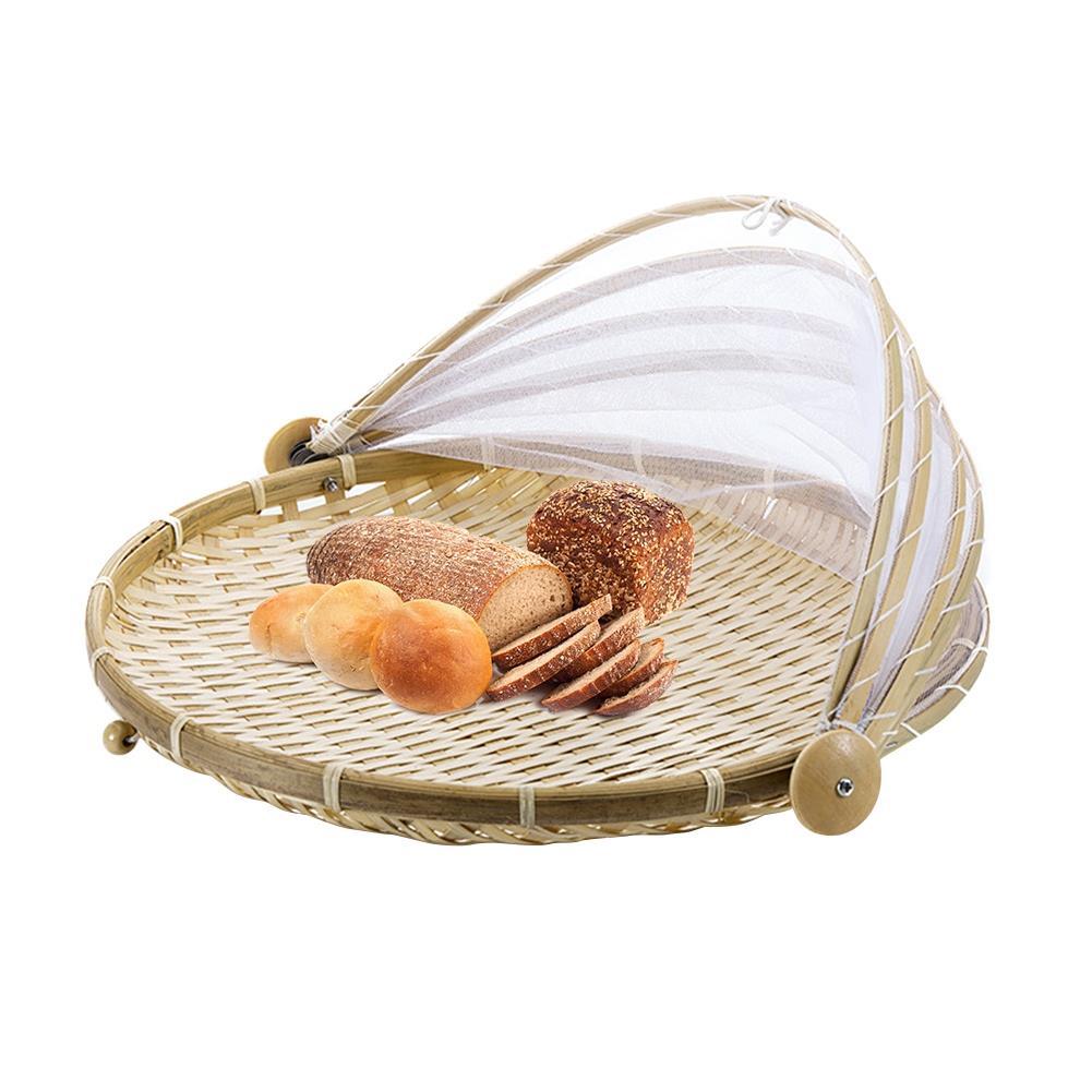 LBER, 1 pieza, cesta tejida a mano a prueba de insectos, cesta de Picnic a prueba de polvo, cesta de mimbre hecha a mano para frutas, verduras, pan, cesta con gasa
