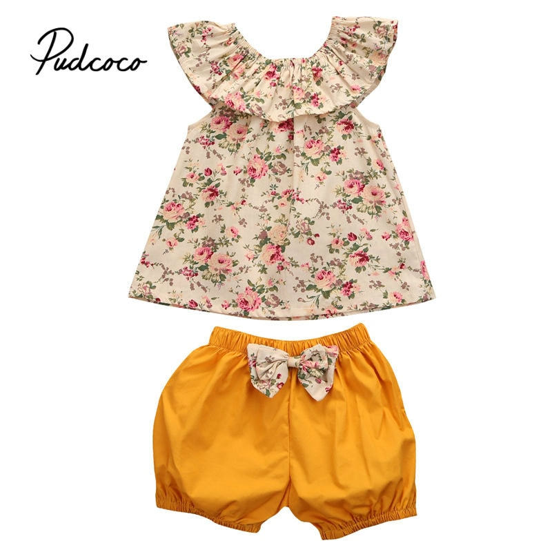 Pudcoco 2019 niños pequeños niñas Floral tanque ruffles top match shorts verano Bow-knot sin mangas 2 uds ropa de niña pequeña