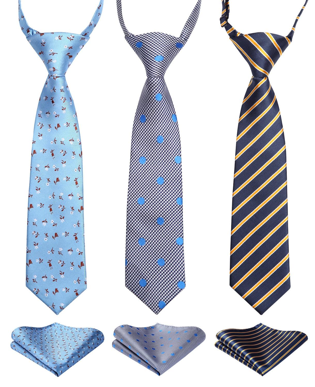 Lot 3 Set  27cm Child Pre-tied Necktie for Boys Woven Handkerchief Kids Tie School Parent-child Tie Pocket Square