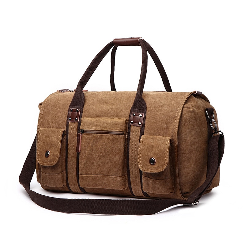 Холщовые дорожные сумки, мужские вещевые сумки, вместительные сумки, многофункциональные дорожные сумки, сумка для выходных, синяя, Черная